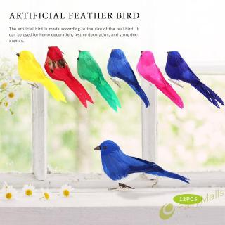 Fa# 10pcs DIY Artificial Birds with Clip Simulated Colorful Feather Home Decor