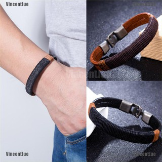 VIN Fashion Surfer Men Vintage Rope Wrap Leather Wristband Bracelet Cuff Black Brown MY