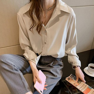 Women Vintage Solid Color Cotton Blend Lapel Shirt Loose Single-breasted Long Sleeve Blouse