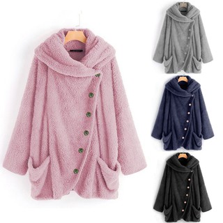 Breakingbd Women Casual Solid Turtleneck Big Pockets Cloak Coats Vintage Oversize Coats