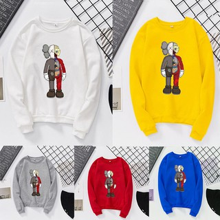 ✨ Xiaozhang ღKAWS Couple Shirt Autumn Winter Couple Round Collar Sweeper Anatomy Pattern Women's Blouse