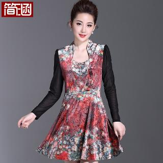 Jane Han large size women's fat mm new slightly fat skirt female Xia Xian thin gauze sleeves fat sister summer dress