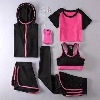 Sport wear Sport shirt + pantsx2 + sport bra+ jacket / excercise / yoga set 5pcs