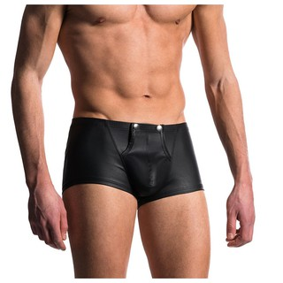 Men's boxer sexy patent leather underwear Faux leather low waist Appeal U convex