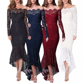 Women's Ladies Long Sleeve Off shoulder Bodycon Long Dress Party Cocktail Dress