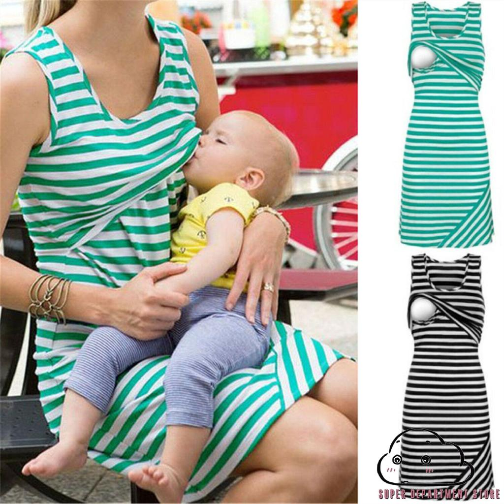 UniWomen Summer Green Maternity Breastfeeding and Nursing longuette Tops Dress