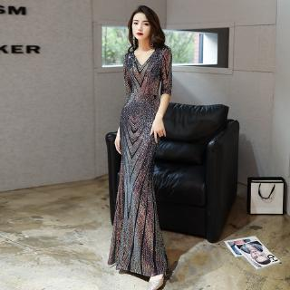Geometric Sequin Mermaid Night Dress For Women Queen Fishtail Bodycon Jubah Girl Formal Baju Preloved Star Wedding Dress