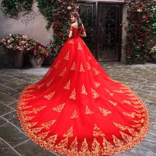 Red Big Long Tail Off Shoulder Wedding Bridal Gown Evening Dress