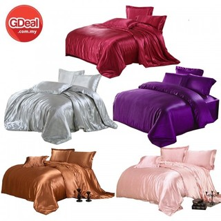 GDeal 3-In-1 Luxury Bedding Sets Fitted Solid Silk Set Bed Sheet