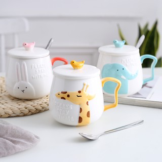 Cute couple cartoon ceramic mug office creative personality milk coffee cup with lid spoon trend cup