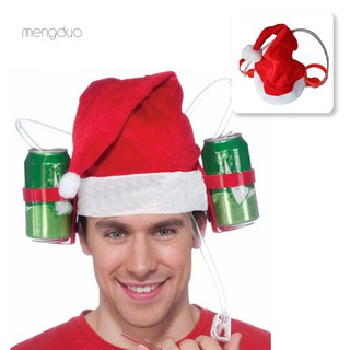 MDChristmas Santa Claus Cheers Drinking Hat Holds 2 Beverages Holiday Decoration