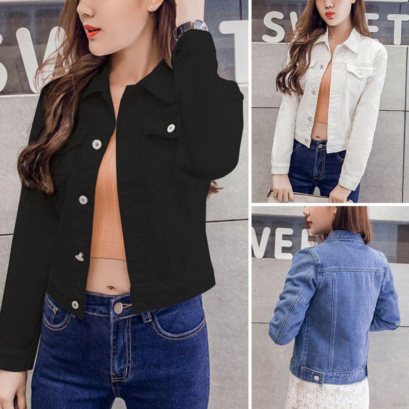 New autumn Short Denim Jackets Vintage Casual Coat Denim Jacket For Women Jeans