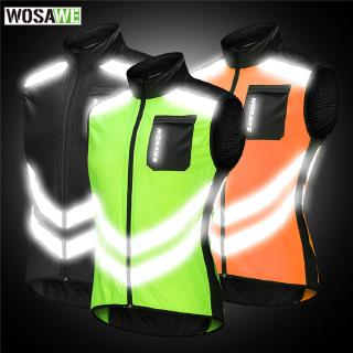 WOSAWE Mountain Road Cycling Running Windbreaker Jacket Vest Ultra-light Reflective Anti-splash Short-sleeved Top
