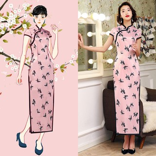 New long double-layer cheongsam beaded cheongsam Tmall consignment girl pink fashion slim cheongsam618