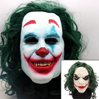 shenyangwolf  Joker Mask Movie Batman The Dark Knight Cosplay Horror Scary Clown Mask with Green Hair