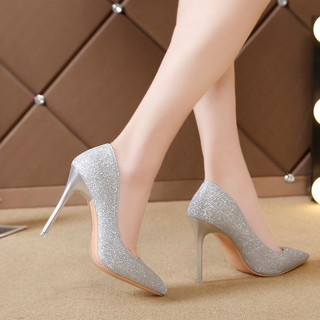 ○The new spring 2019 fine silver high heels women sexy black joker French net less red piece of women's shoes
