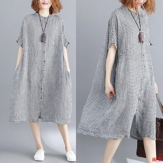 women loose short sleeve plaid shirt dress
