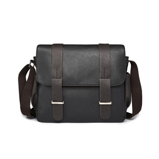 [Ready Stock] MV Bag MEN Leather Durable Sling Messenger Black Business Casual Canvas Bag 322