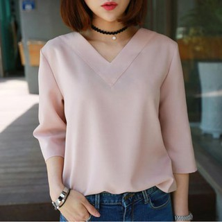 🔝Korean Style V-neck  Chiffon Office Blouse Pullover
