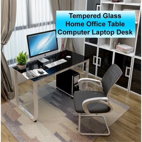 TEEMO Tempered Glass Office Table Simple Study Student Writing Computer Laptop Desk