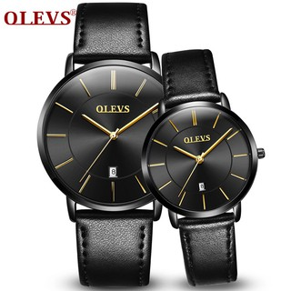 Couple Watches Leather Date Watch Black Men Lovers Watch Ladies Simple Casual