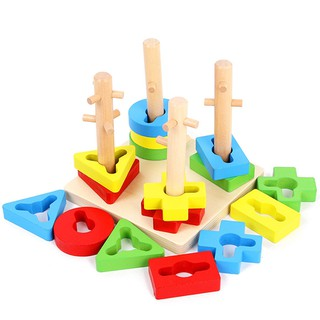 Shape Matching Color Sorting Wooden Toys Gifts for Children