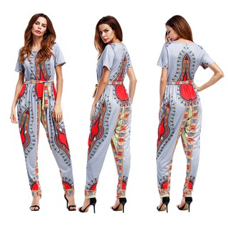 WISH cross-border women's explosions Amazon eaby printed round neck short-sleeved jumpsuit women's feet pants trousers