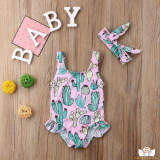 TT-Baby Girl One Piece Swimsuit Cactus Floral Print Swimwear Strap Sunsuit Summer Beachwear Outfit