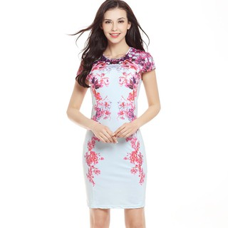 Women long dresses Short sleeved Round Neck floral pattern Bodycon dress l053