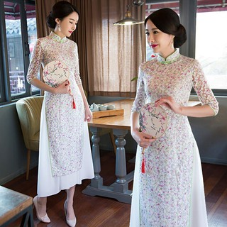Women's Chinese Lace Short Sleeve Dress Elegant Slim Qipao Size S M L XL XXL