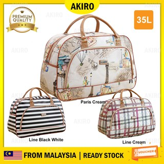 AKIRO Portable 35L Hand Carry PU Leather Duffel Luggage Travel Bag XJ001