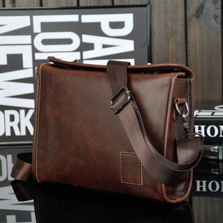 Crazy Horse PU Leather Men Briefcase Brand Luxury Men's Messenger Bag Male Lapto