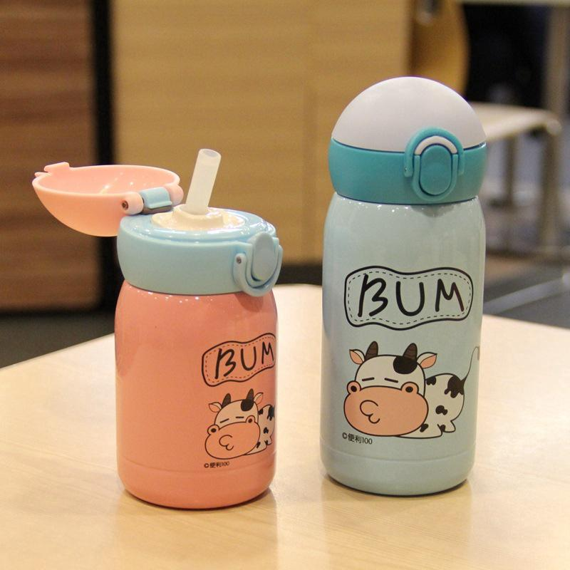 Children's straw thermos Kids sippy cup Kid's strap training bottle Straw Bottle Children's Cup Thermos cup