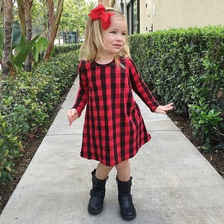 Red Checked Dress with Long Sleeve