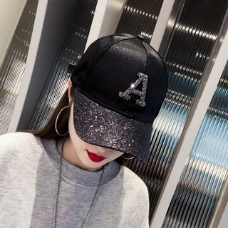 Hat han edition tide female cap letters sequins with drill hip-hop summer suntan joker black baseball
