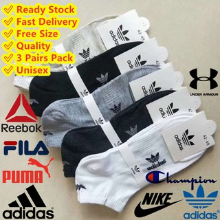 🔥Ready Stock🔥ADIDAS NIKE FILA Champion Reebook Under Armour PUMA Marks Ankle Socks Stokin Basic