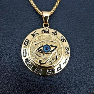 Ancient Egypt Horus Eye Amulet Gold Stainless Steel Pendant Necklace Jewelry