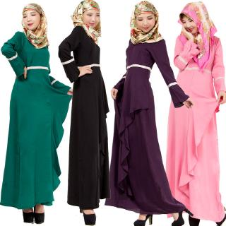 Ms. factory direct Pakistan Muslim Malay dress solid color dress large size dress in national costumes