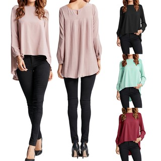 Women Chiffon Blouse Pleated Asymmetric Loose Solid Plus Size Shirt Top