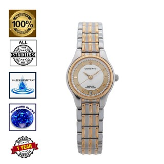 Giordano Silver Gold Sapphire Crystal Glass Water Resistant Stainless Steel Band Women Watch L5289SG-WH
