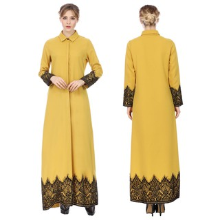 Muslim Islamic Arab Kaftan Women's Casual Long Sleeve Cocktail Maxi Dress