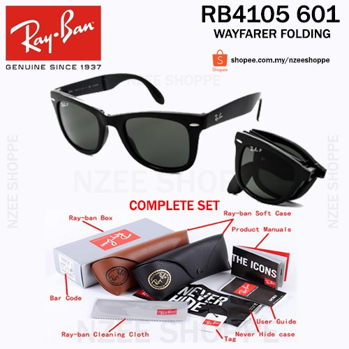 4244d73e9998 Original RayBan Wayfarer Folding Polarised RB4105 601 54mm Black/Dark Green  | Shopee Malaysia