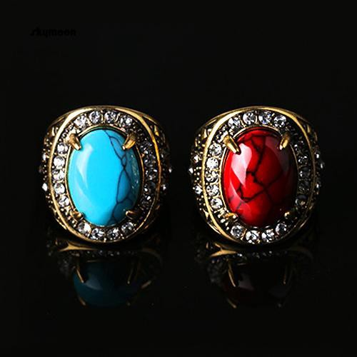0613a11626d3c Skymoon_Men's Women's Unisex Vintage Turquoise Rhinestone Golden Alloy Ring  Jewelry