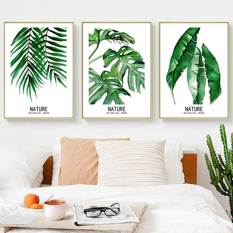 Watercolor Leaves Wall Art Canvas Painting Green Plant