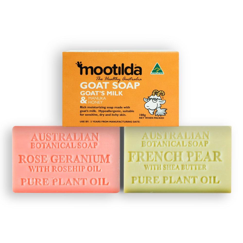 (Combo Set) Natural Anti-Aging Natural Soap - Rose Geranium + French Pear with Shea Butter+MOOTILDA Manuka Honey