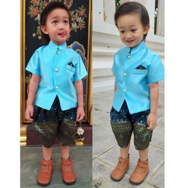 022 ชุดไทยเด็กชาย หญิง ชุดไทยสีฟ้า ชุดไทยเด็ก โจงก