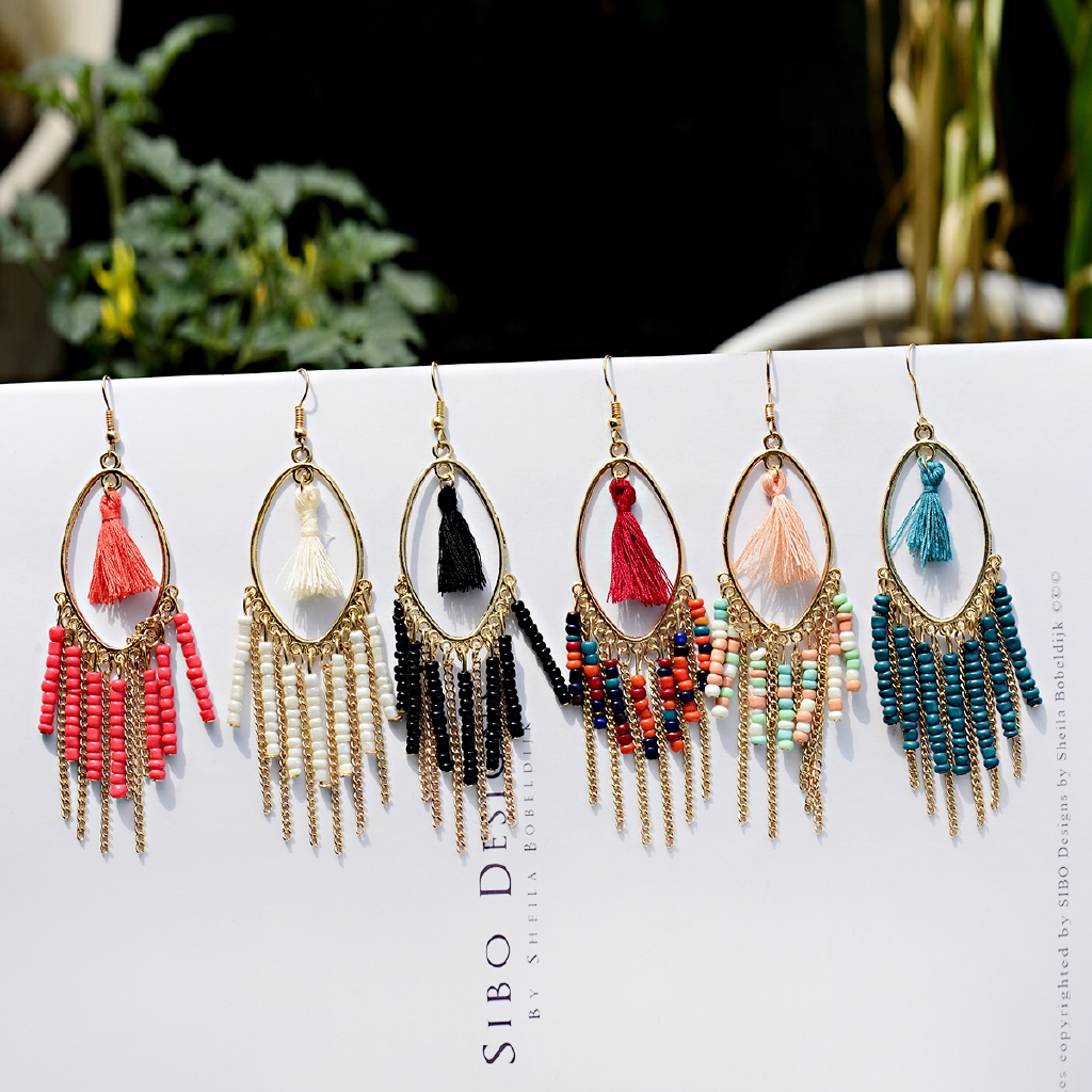 2019 Boho Acrylic Beads Tassel Earrings Women Gold Water Drop