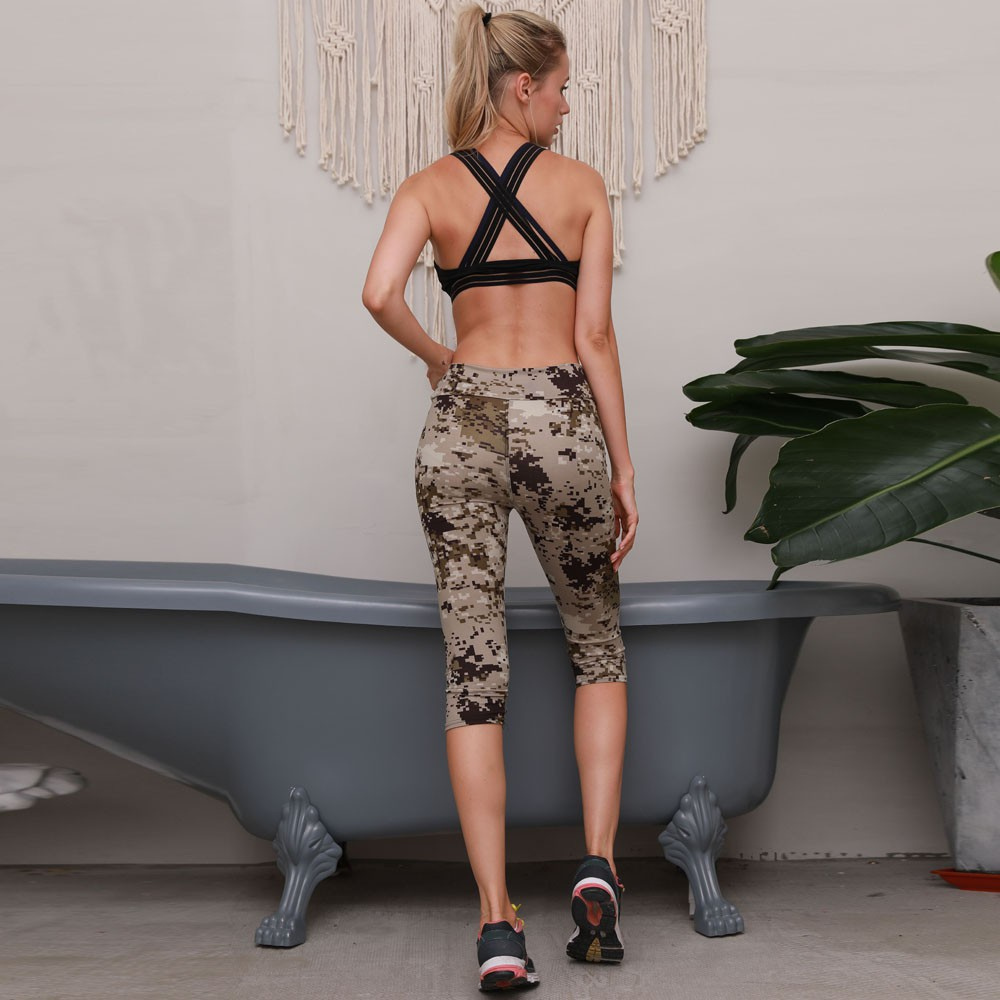 High Waist Fitness Yoga Jogging Sport Pants Floral Stretch Cropped Leggings HOT