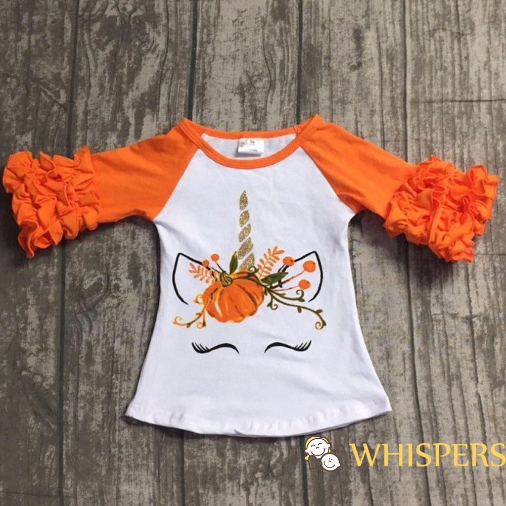 Pumpkins Kids Cotton T-Shirt Basic Soft Short Sleeve Tee Tops for Baby Boys Girls