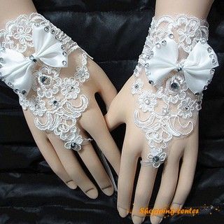 5c333a07ff8 Wedding Gown Fingerless Gloves Inlaid Rhinestone and Bowknot Bridal Lace  Gloves